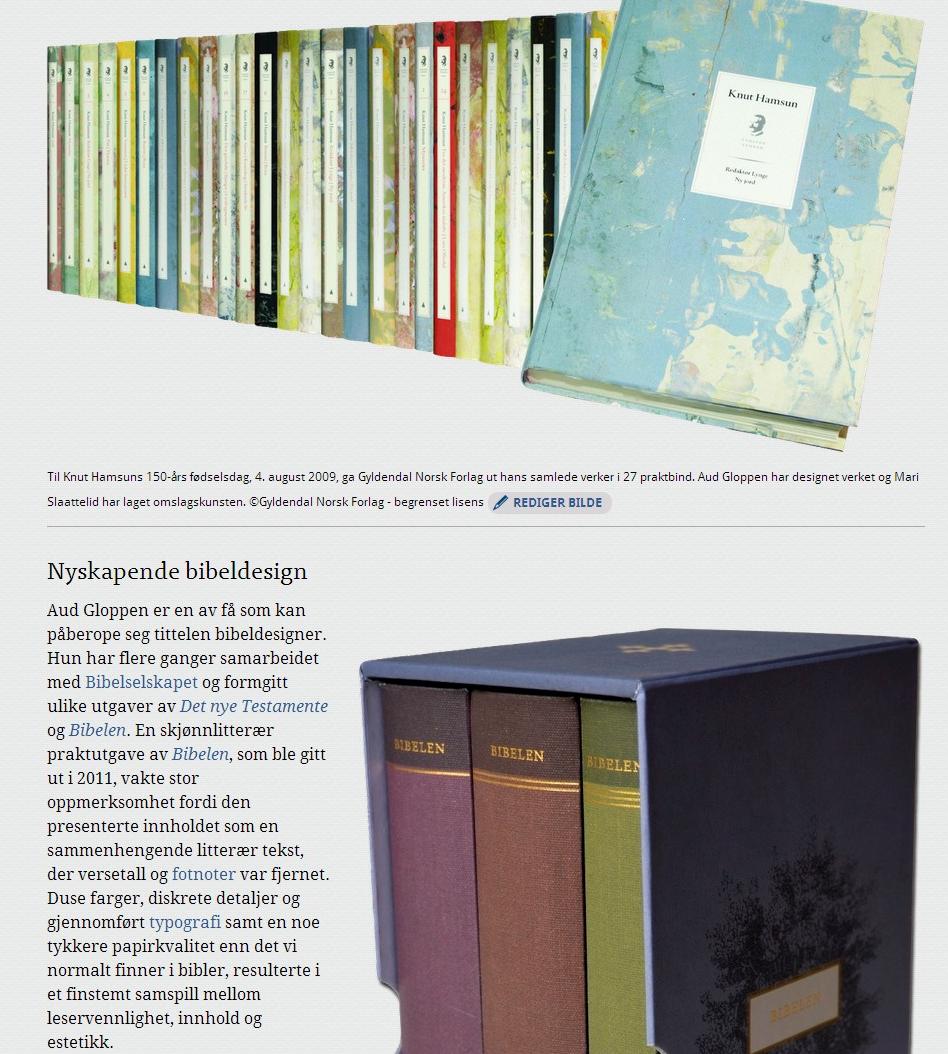 Artikkelen om designeren Aud Gloppen, skrevet og bearbeidet av fagansvarlig Katrine Kalleklev, er blitt skikkelig fin med ny visning (faksimile fra snl.no).